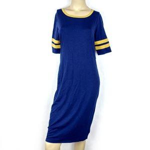 LuLaRoe Julia solid blue Pencil Dress Medium